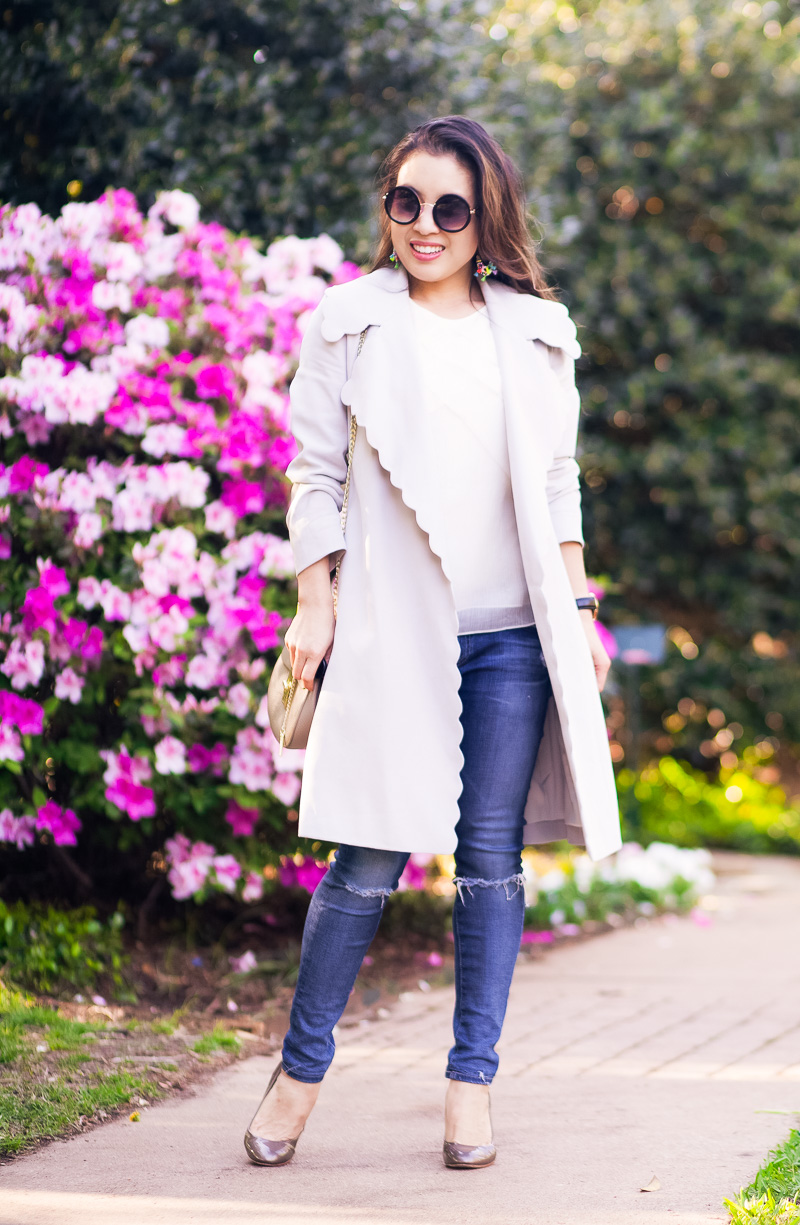 Spring Womens Trench Coat and Statement Earrings by Dallas petite fashion blogger Kileen of cute & little
