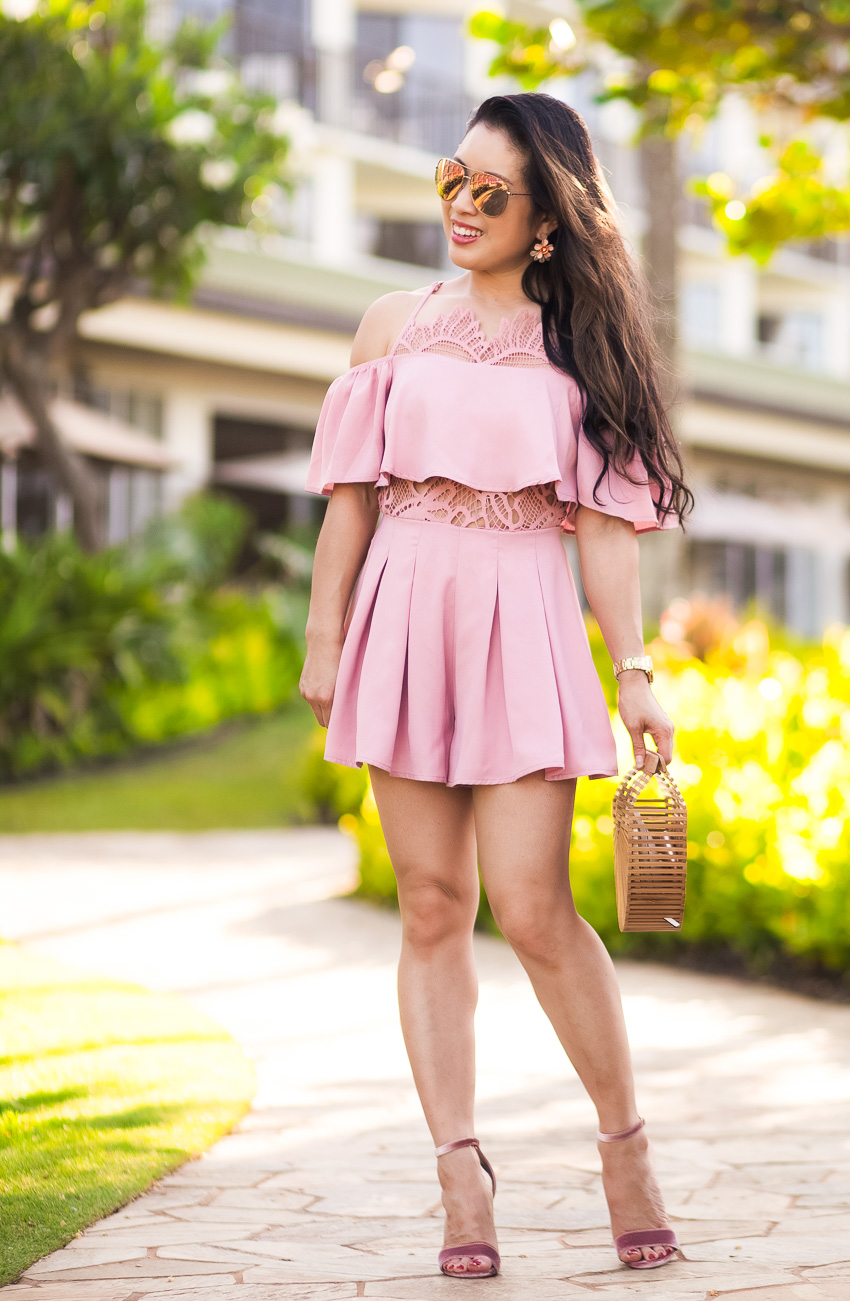 cute & little | petite fashion blog | shein lace frill playsuit romper, steve madden blush pink carrson, cuilt gaia bag, foster grant pink aviator sunglasses | spring summer outft