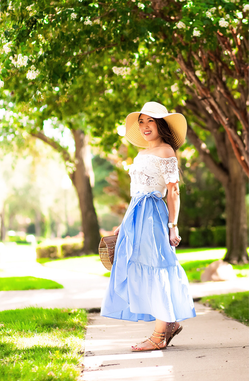 cute & little blog | petite dallas fashion blog | lace off shoulder crop top, j.crew ruffle wrap skirt, studded thong sandals, floppy sun hat | casual summer outfit