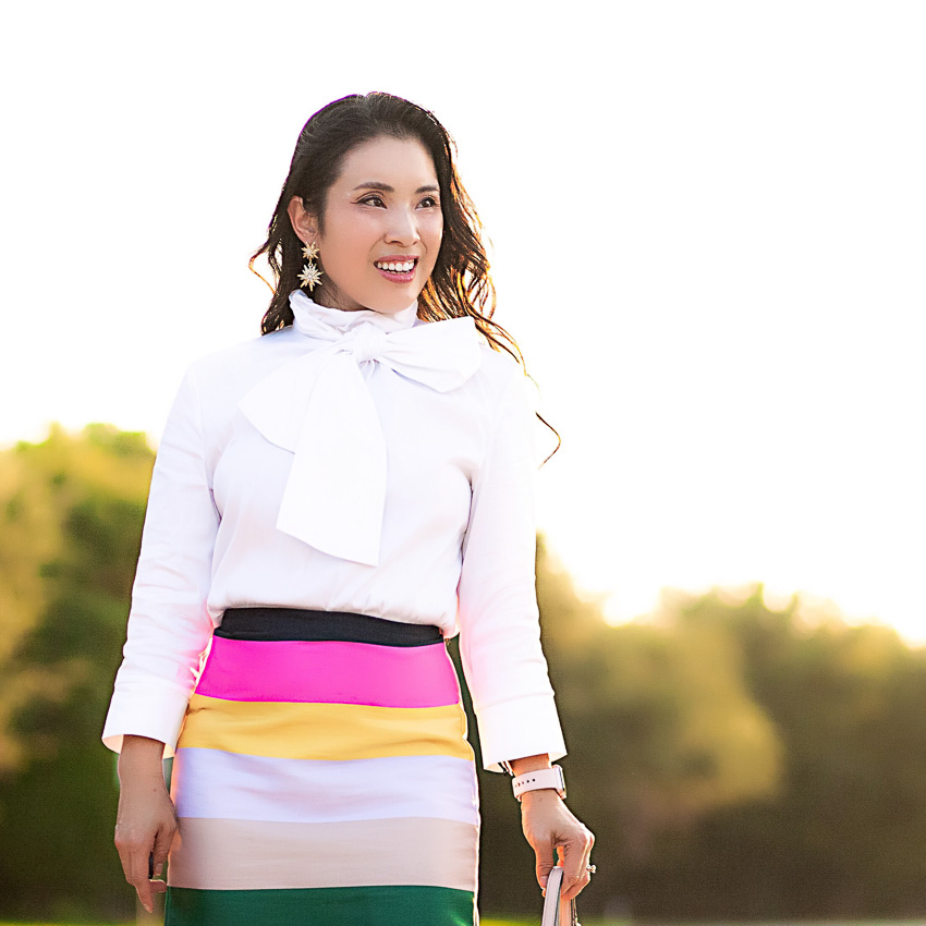white bow neck top, striped pencil skirt | fall outfit | nordstrom anniversary sale 2017