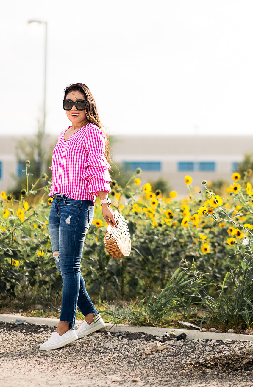 cute & little blog | petite dallas fashion blogger | gingham ruffle sleeve top, step hem jeans, white vince sneakers, bamboo ark bag | summer outfit | sunflowers - Classic Summer Outfit in Gingham and Sneakers by Dallas petite fashion blogger cute and little