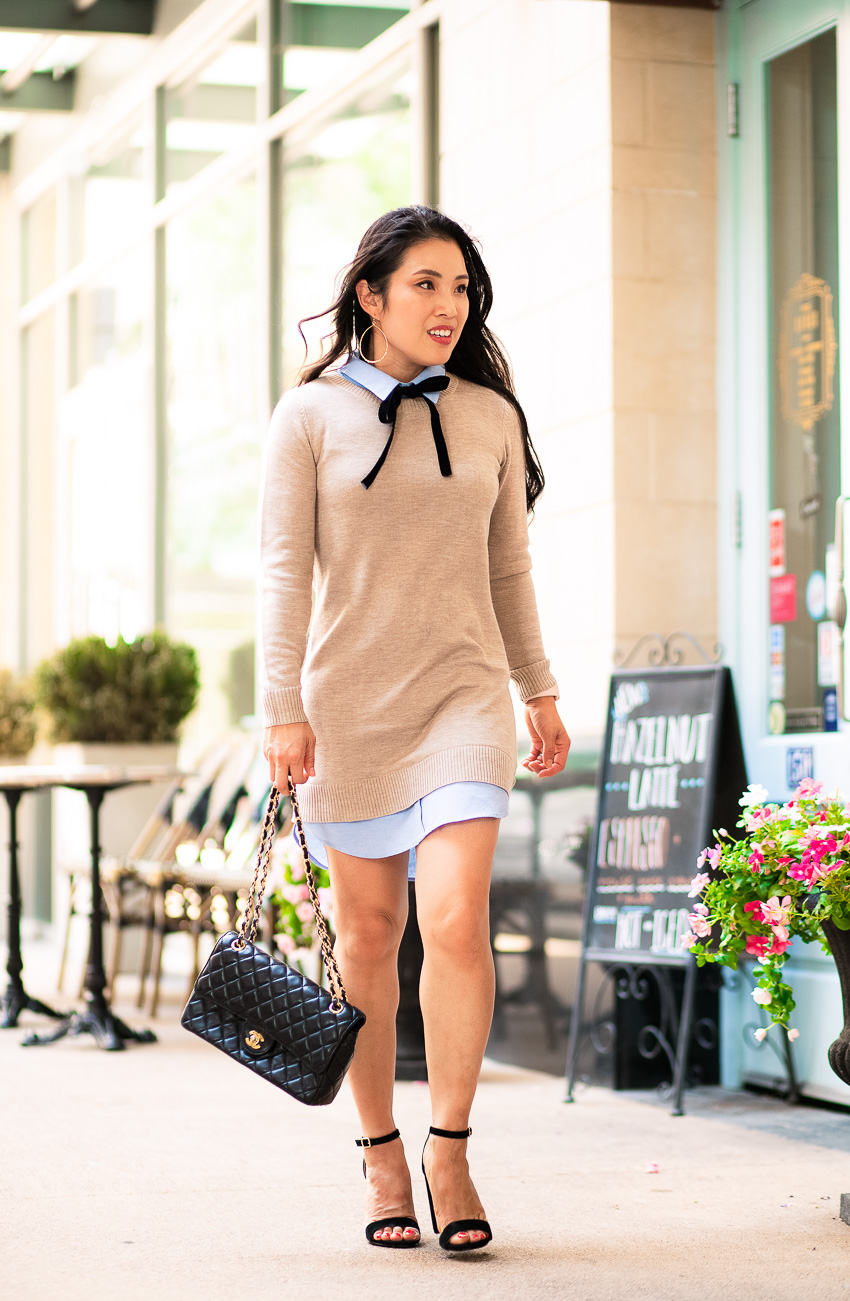 cute & little | dallas petite fashion blog | english factory shirt dress, steve madden carrson black heels | work fall transition outfit