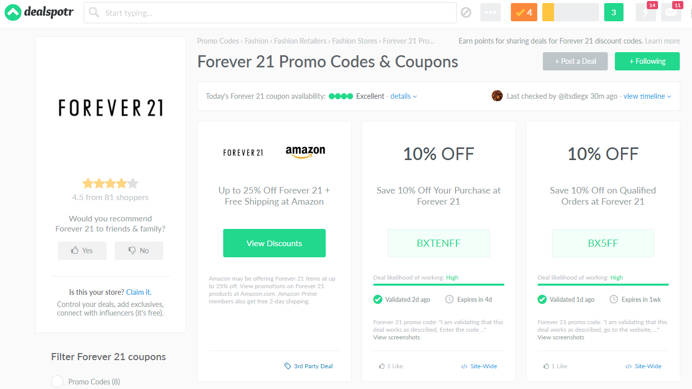 dealspotr forever 21 coupon code