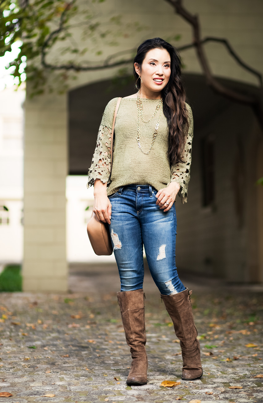cute & little blog | olive lace crochet knit sweater, layered long necklace, born fannar boots, gucci soho | fall outfit - Petite-Friendly Tall Boots with Born Shoes by Dallas petite fashion blogger cute & little