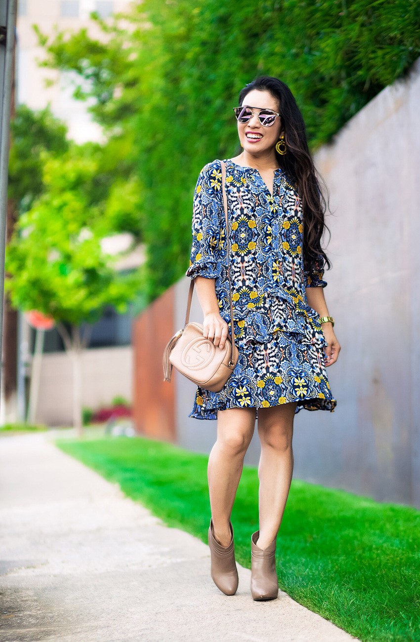 cute & little | dallas petite fashion blog | loft autumn dream drop waist dress, taupe ankle booties, gucci soho bag | fall transition outfit - 5 Tips For Styling Drop Waist Dresses by Dallas fashion blogger cute and little