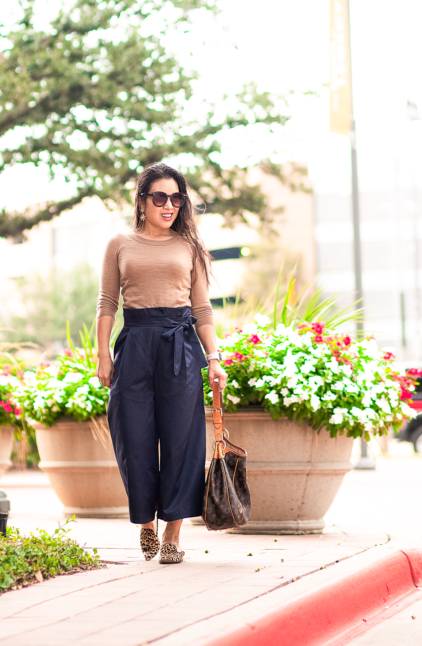 cute & little | dallas petite fashion blog | j.crew tippi sweater, paperbag waist culottes pants, leopard mules, louis vuitton galliera | fall work outfit - Why You Need To Try Paperbag Waist Pants by Dallas petite fashion blogger cute & little