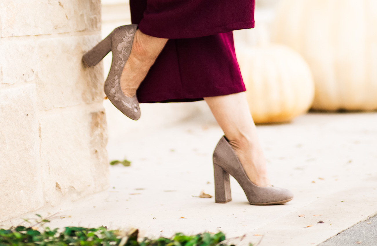 cute & little | dallas petite fashion blogger | burgundy wide leg culottes, shoe carnival grey embroidered pumps | fall outfit - Fall Fashion Overhaul: The Perfect Outfit Starts With Shoes by Dallas petite blogger cute & little