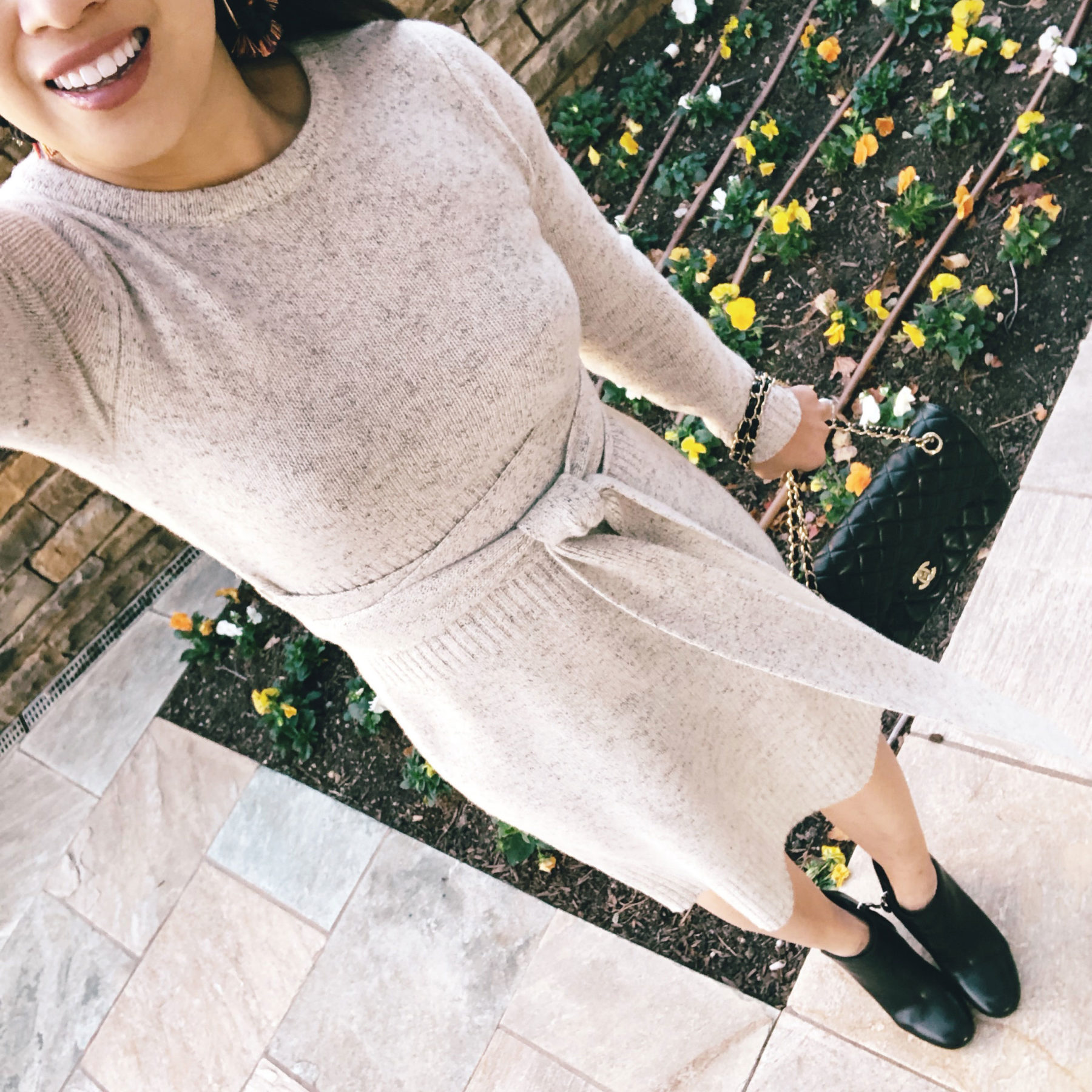 cute & little | ann taylor obi belt wrap gray sweater dress - Extended Cyber Monday Sales by Dallas fashion blogger cute & little