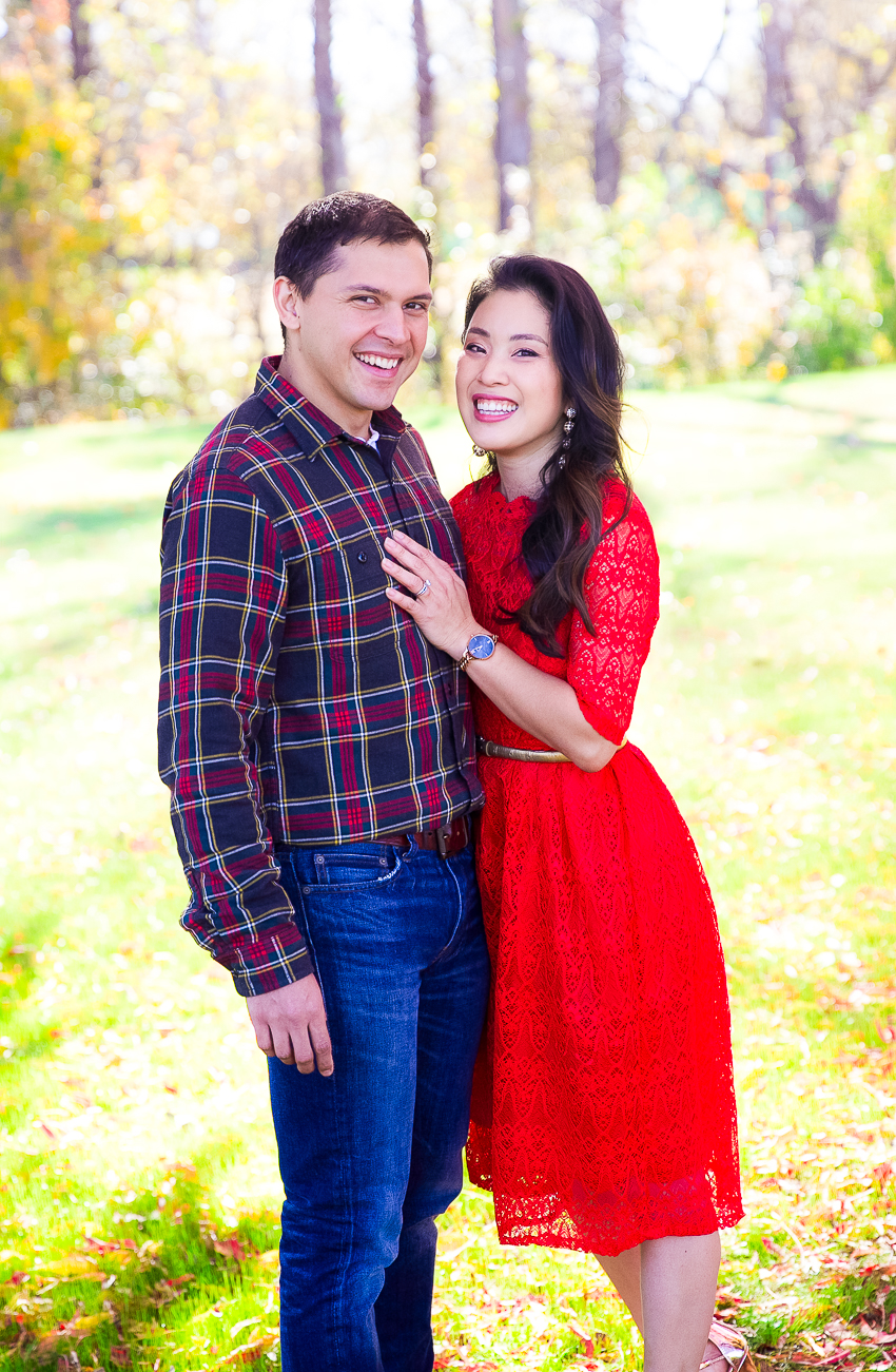 cute & little | dallas petite fashion blogger | red lace holiday dress, couples holiday outfit photoshoot - Our 2017 Family Holiday Cards by popular Dallas blogger cute & little
