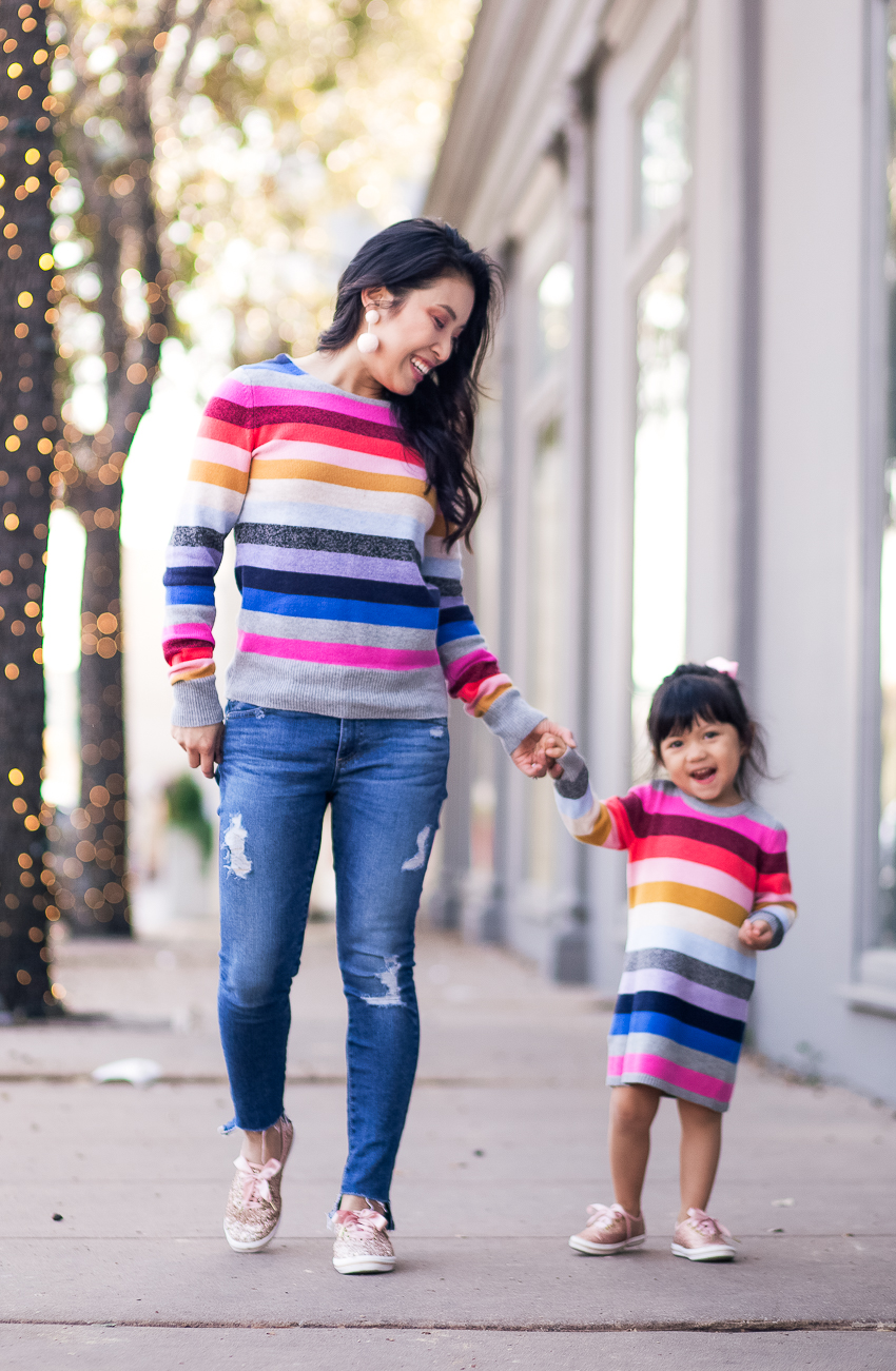cute & little | mommy daughter twinning holiday outfit | gap candy stripe, keds kate spade glitter shoes - Holiday Sparkle and Stripes in Mommy and Me Outfits by Dallas fashion blogger cute & little