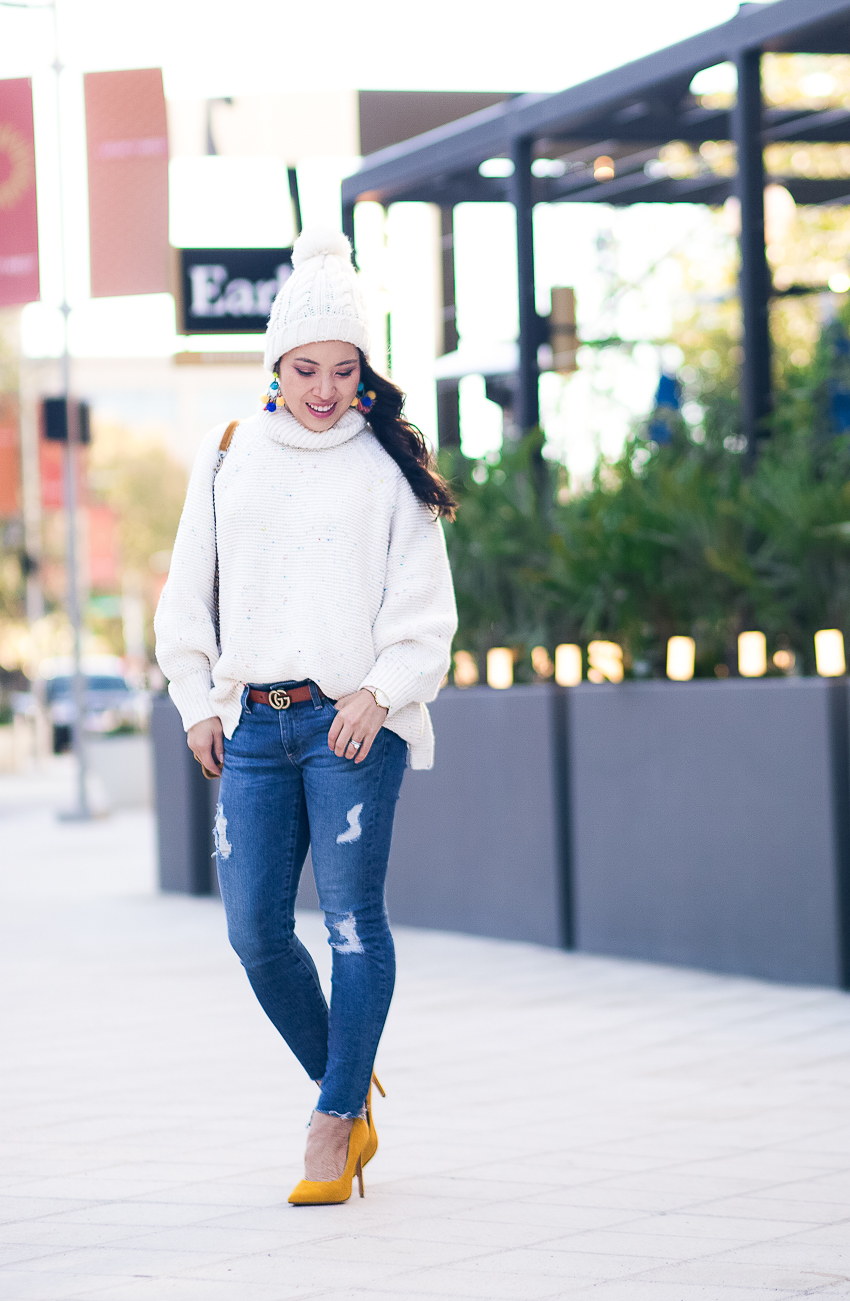 cute & little | dallas petite fashion blog | lou grey rainbow chip sweater, pom beanie, gucci belt look for less, mustard heels | #bemonamie - Mon Amie Watches Giveaway by Dallas style blogger cute & little