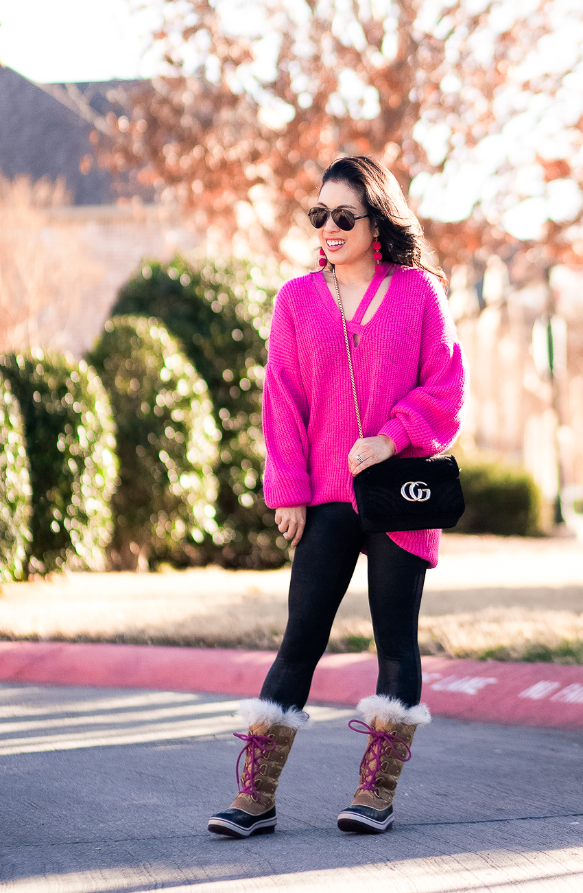 cute & little blog | dallas petite fashion blogger | hot pink sweater, spanx faux leather leggings, sorel joan of arctic pink laces fur snow boots | winter apres ski outfit - Easy, Warm, and Chic for Apres Ski by popular Dallas petite fashion blogger cute & little