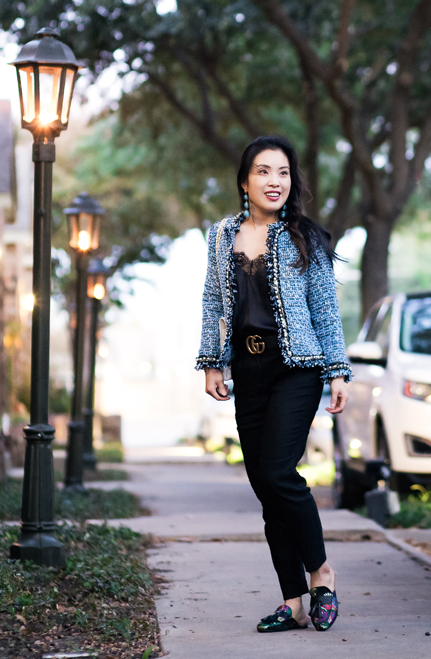 cute & little blog | dallas petite fashion blog | pearl tweed petite blazer, black lace cami, high-waist trousers, fur-lined mules, gucci double g belt | work fall winter outfit - Office Chic in a Tweed Blazer and Fur-Lined Mules by popular Dallas petite fashion blogger cute & little