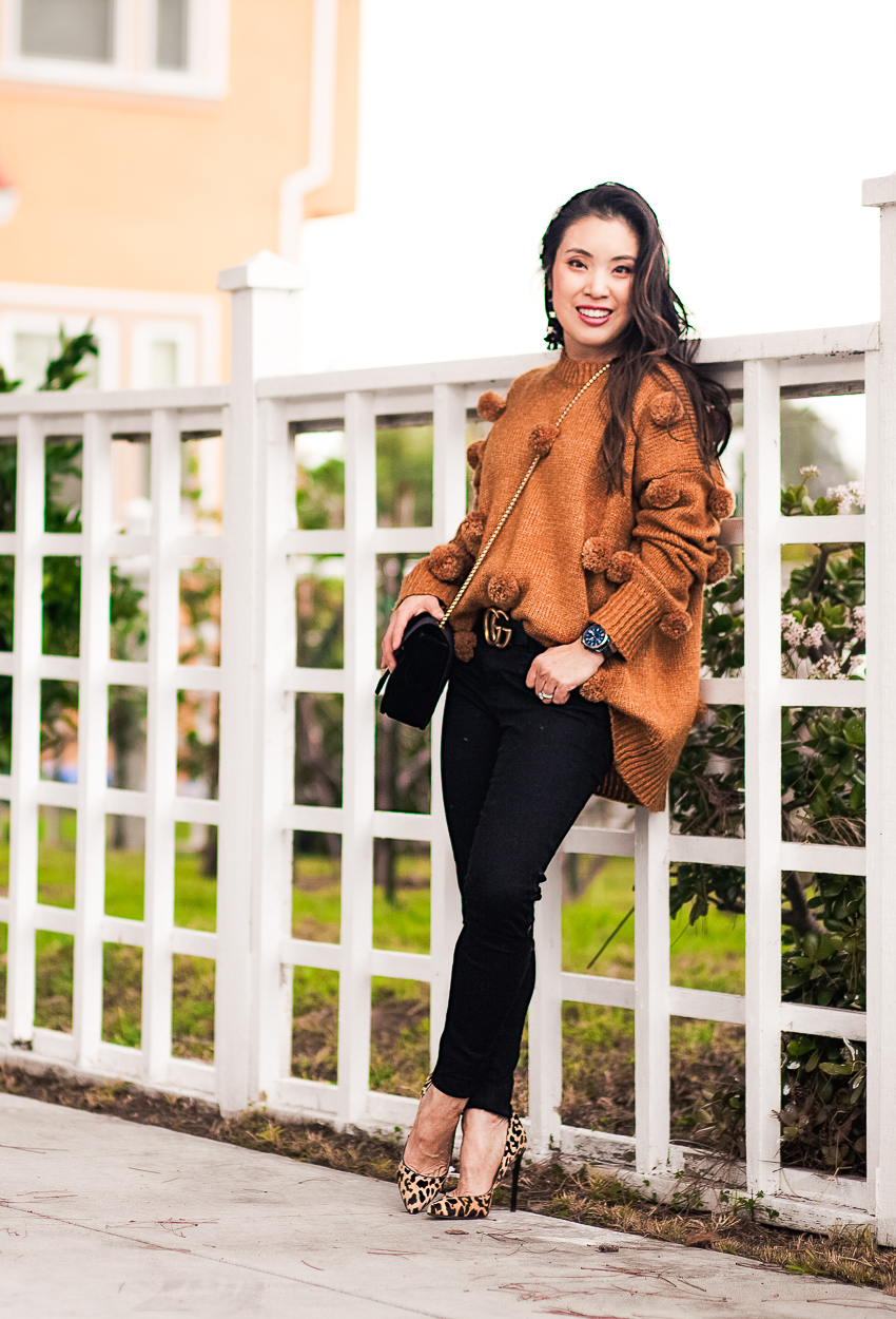 cute & little | dallas petite fashion blog | pom pom sweater, black petite jeggings, leopard print pumps | fall winter outfit - Make A Statement In Your Pom Pom Sweater by popular Dallas petite fashion blogger cute & little
