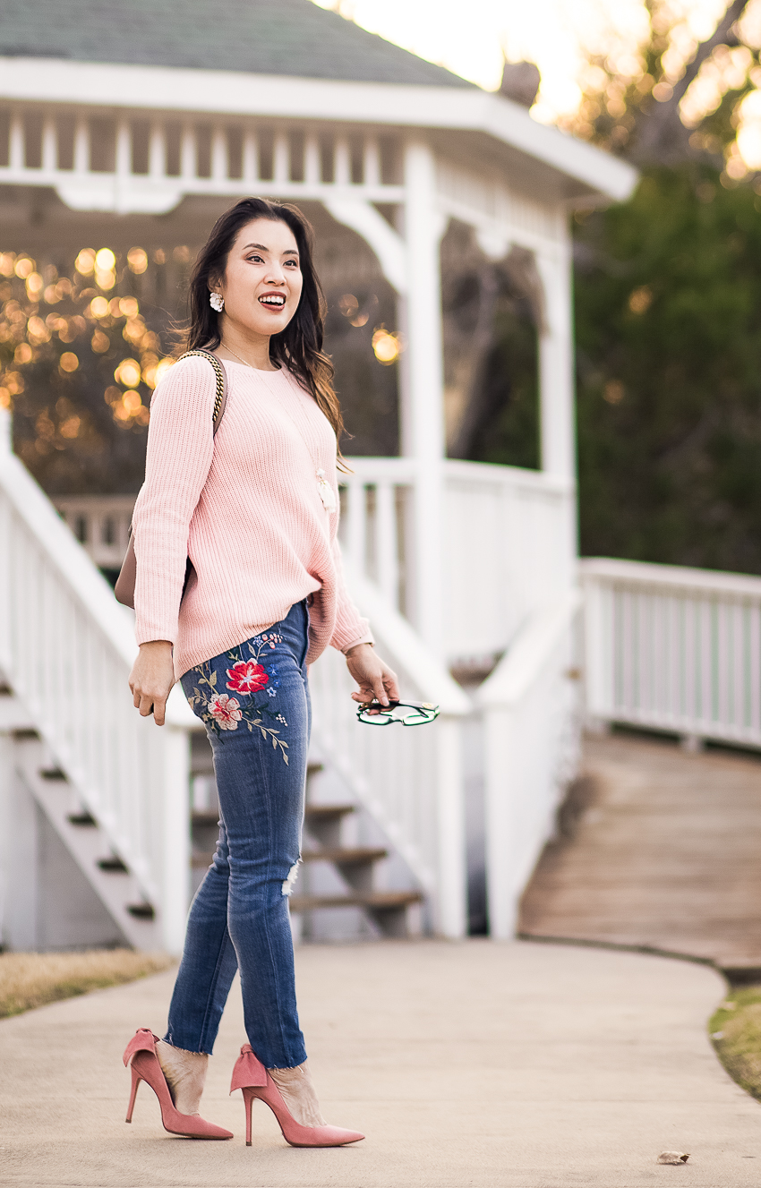 cute & little | dallas petite fashion blog | loft tie back mixed media pink sweater | express embroidered jeans, pink bow heels | valentines day spring outfit