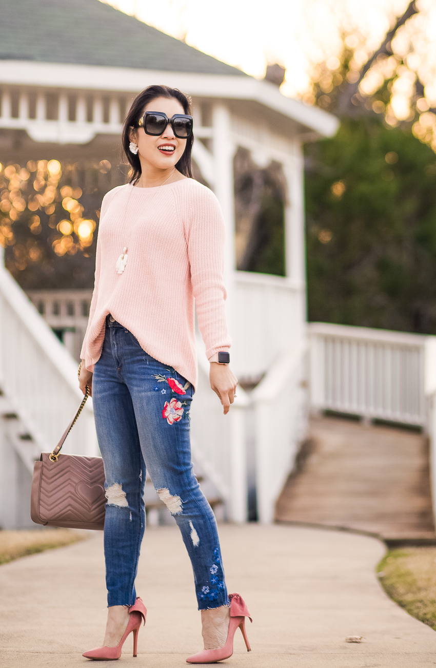 cute & little | dallas petite fashion blog | loft tie back mixed media pink sweater | express embroidered jeans, pink bow heels | valentines day spring outfit - High Waisted Embroidered Jeans outfit by popular Dallas fashion blogger cute & little
