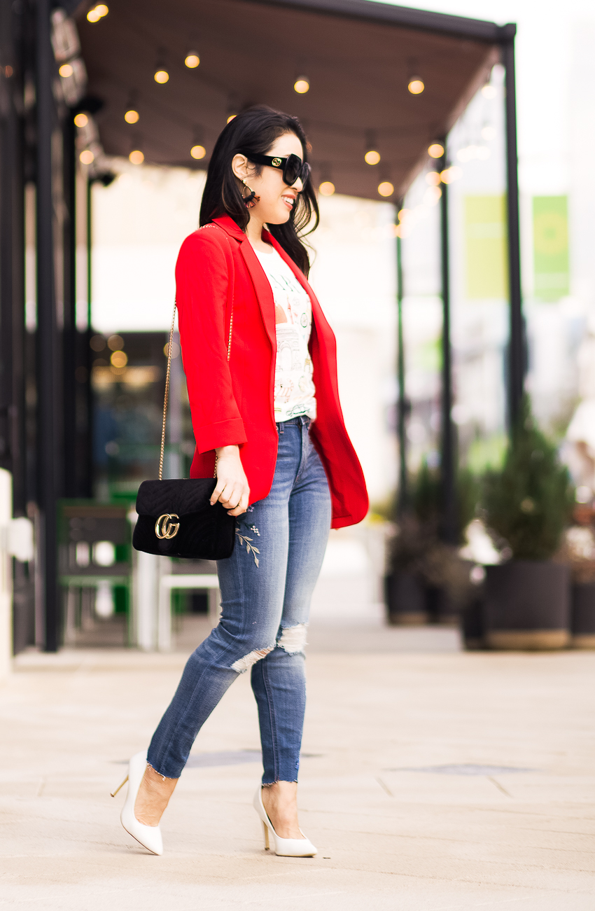 cute & little   dallas petite fashion blogger   express red blazer, graphic tee, embroidered jeans, white pumps   casual work outfit - Red Boyfriend Blazer by popular Dallas petite fashion blogger cute & little