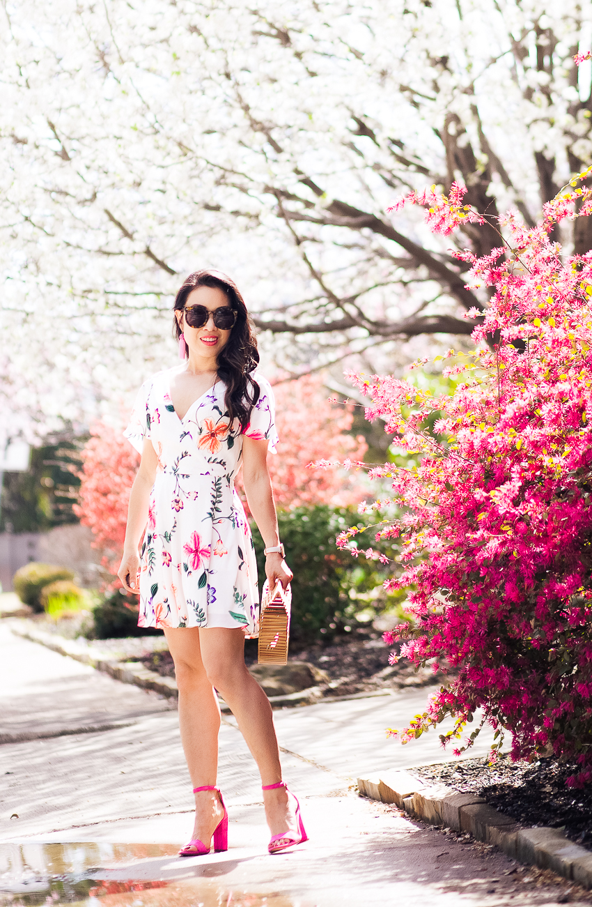 cute & little | dallas petite fashion blog | express surplice floral fit flare dress, hot pink heels, cult gaia bamboo bag | spring easter dress - A Pretty Dress and All The Spring Feels by popular Dallas petite fashion blogger cute & little