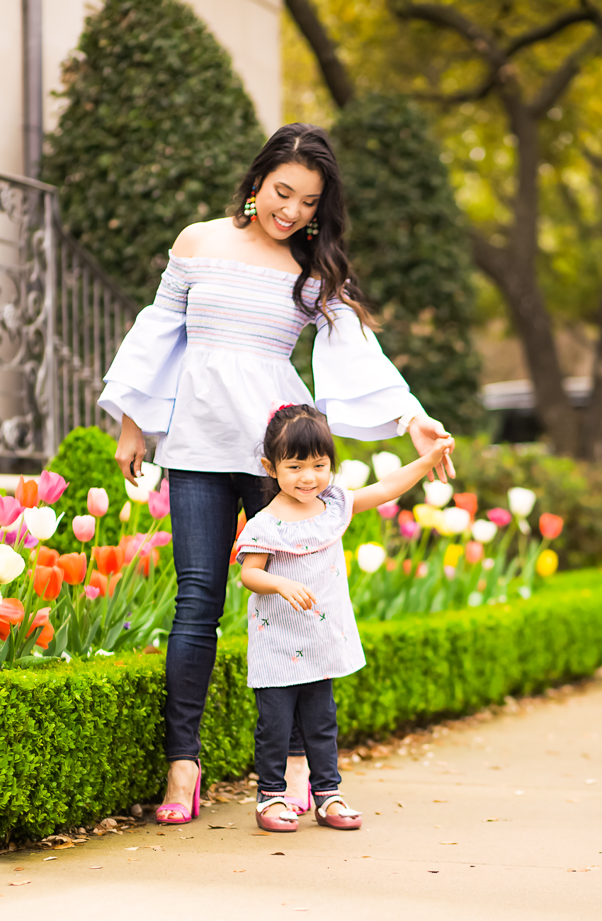 cute & little | dallas fashion blog | spring trends | mommy daughter twinning off shoulder chambray - Affordable Mommy + Me Twinning In Spring Trends by popular Dallas fashion blogger cute & little