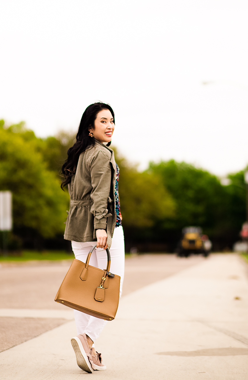 cute & little | dallas petite fashion blog | olive utility jacket, loft flowerbed flared sleeve top, banana republic white skinny jeans, pink bow sneakers | weekend casual style - LOFT Sale favorite picks by popular Dallas petite fashion blogger, cute & little