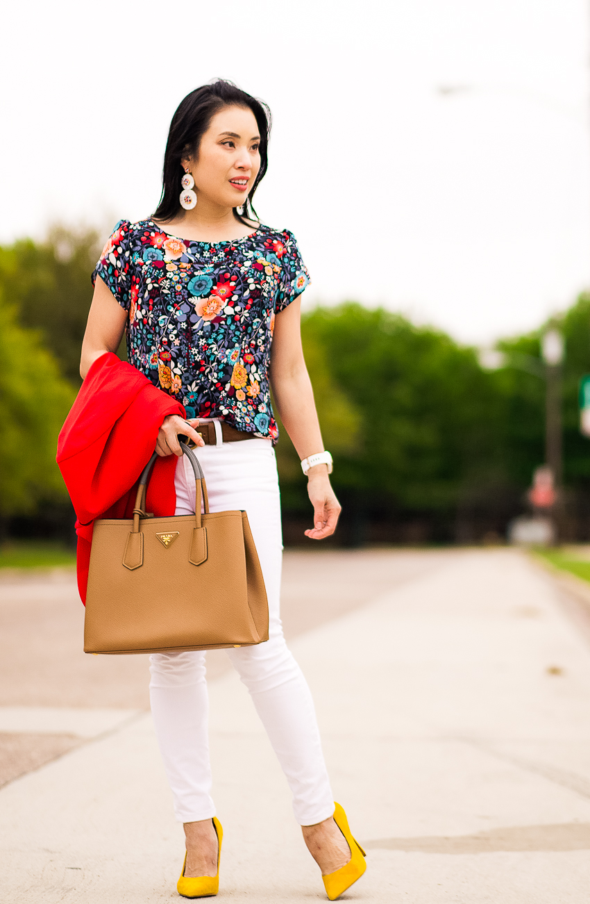 cute & little | dallas petite fashion blog | express red blazer, loft flowerbed flared sleeve top, banana republic white skinny jeans | work outfit - LOFT Sale favorite picks by popular Dallas petite fashion blogger, cute & little
