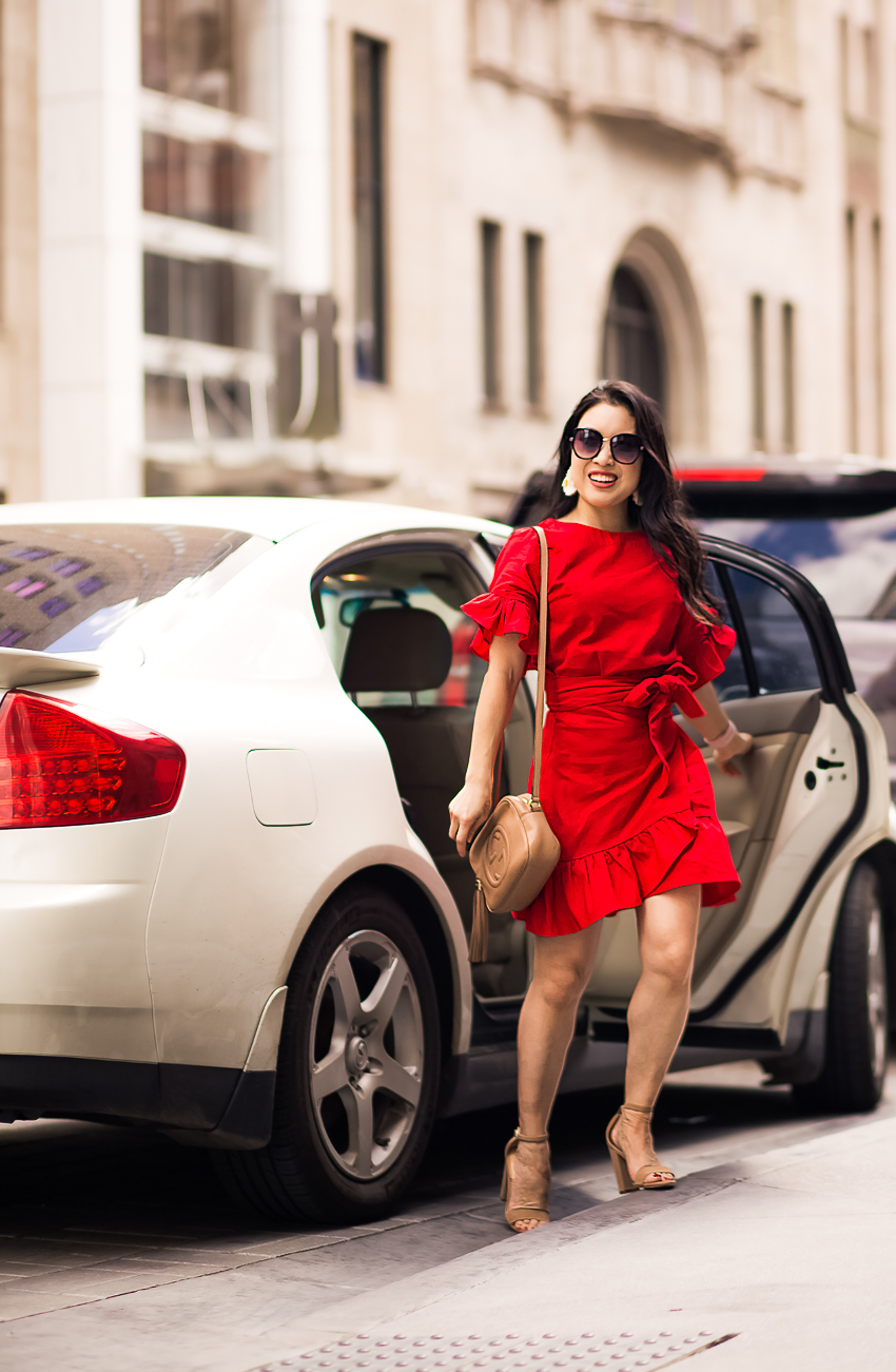 cute & little | dallas petite fashion blog | red ruffle wrap dress, nude sandals, irresistible me hair extensions | date night outfit - This Season's Trendy Dress That Will Leave You Swooning, by popular Dallas Petite Fashion blogger, Cute & Little