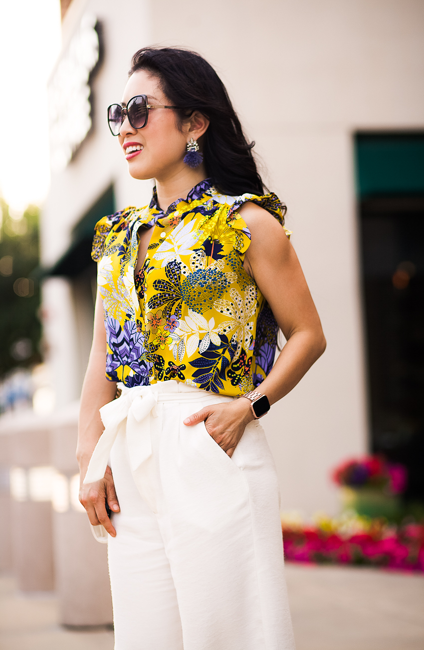 cute & little | dallas petite fashion blog | loft tropicalia ruffle shell, white wide leg paperbag pants | spring work outfit - Leg Pants (and how to wear them!) featured by popular Dallas petite fashion blogger, Cute & Little
