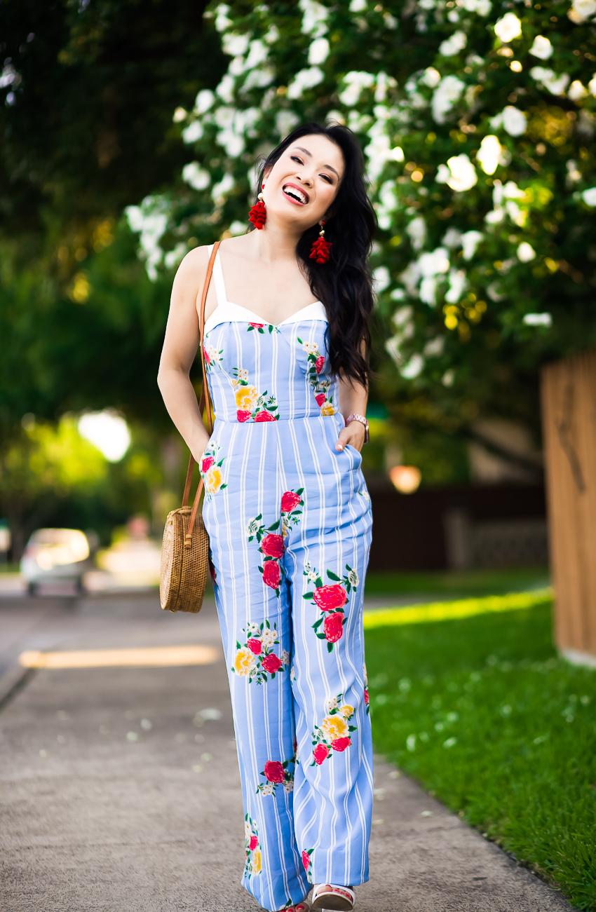 cute & little | dallas petite fashion blogger | adelyn rae iris floral stripe jumpsuit, round woven straw bag | summer outfit - The Struggle That Is Balancing Motherhood by popular Dallas lifestyle blogger, Cute & Little