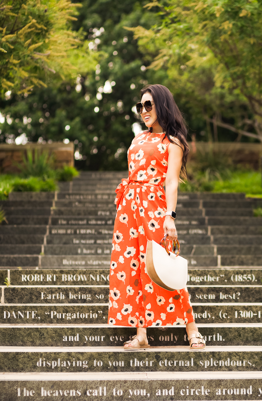 red-orange floral jumpsuit, trask carli slide | frost #optforoptimism - What is Happiness? 3 Things I've Learned featured by popular Dallas lifestyle blogger Cute & Little