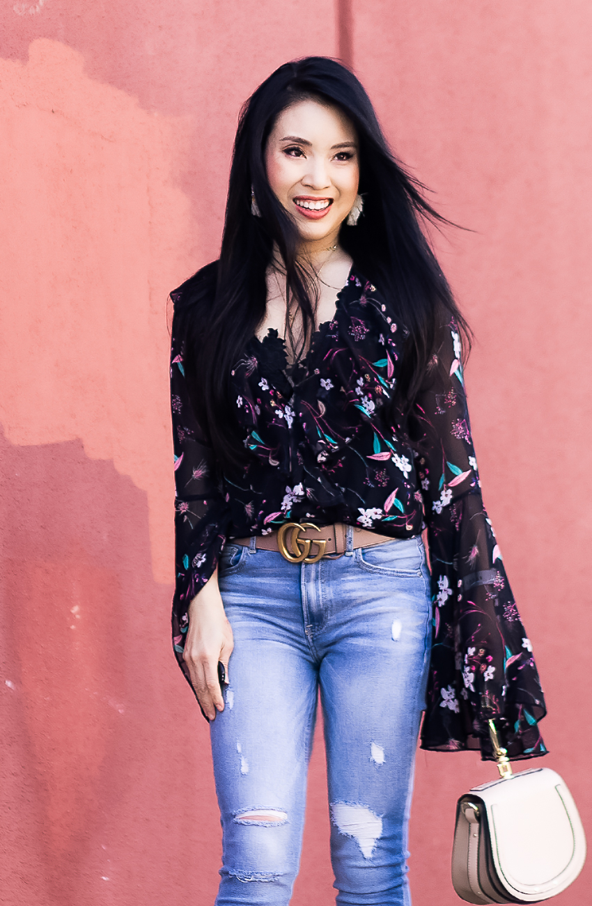 cute & little | dallas petite fashion blog | floral bodysuit, charlotte russe refuge light wash jeans | clip-in hair extensions irresistible me review - Everything You Need To Know About Clip-In Hair Extensions featured by popular Dallas beauty blogger Cute & Little