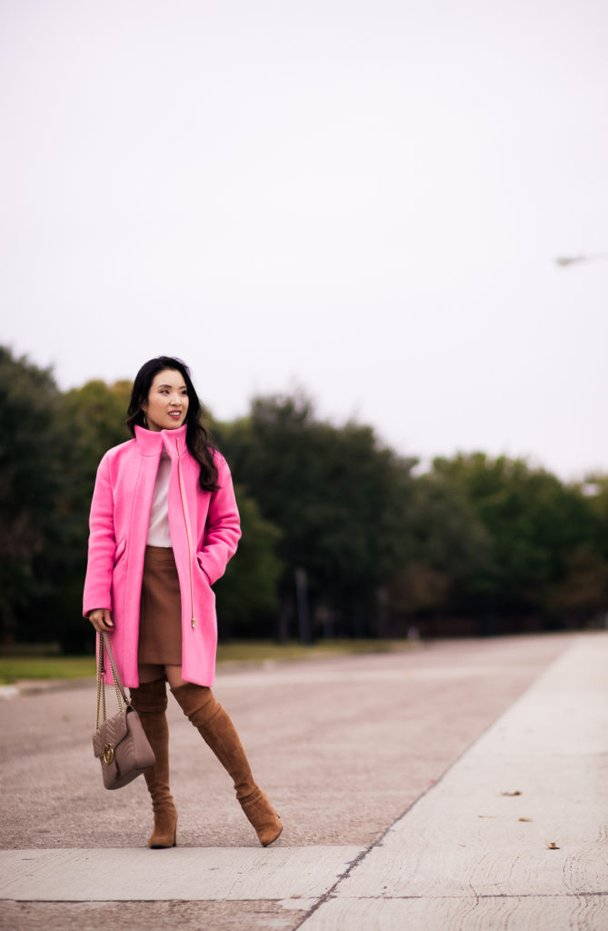 cute & little | dallas petite fashion blog | j.crew pink stadium cocoon coat, stuart weitzmn otk boots on sale | fall outfit - Shopbop's BIG Stock Up Sale: My Picks + Recs featured by popular Dallas petite fashion blog, Cute & Little