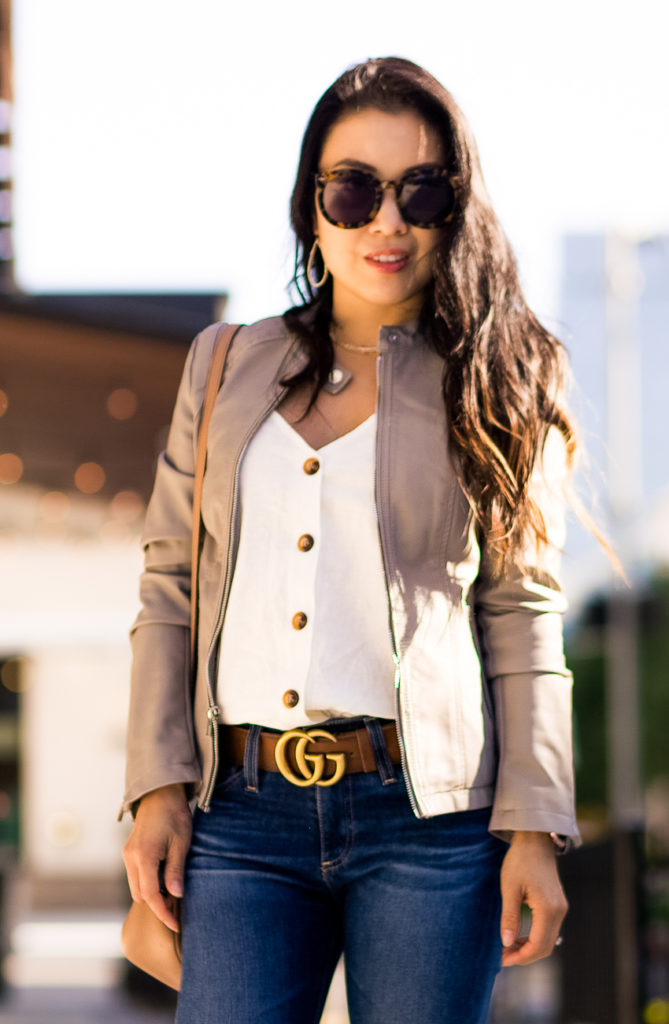 cute & little | dallas petite fashion blog | express minus the leather double peplum leather jacket, topshop button cami, gucci double g belt | how to style leather moto jacket outfit