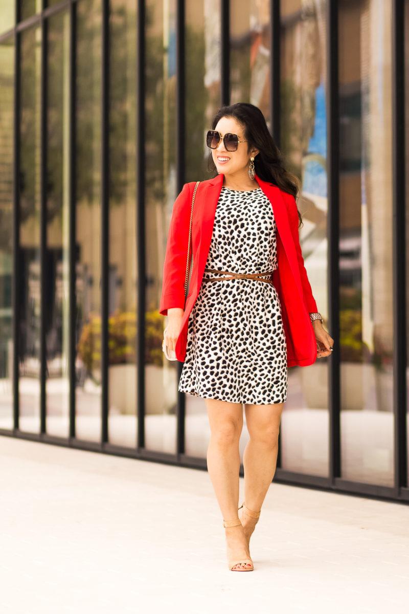 cute & little | dallas petite fashion blog | ann taylor cheetah dot pocket t-shirt dress, express red blazer, ann taylor leanette cork block heel sandals | summer fall outfit