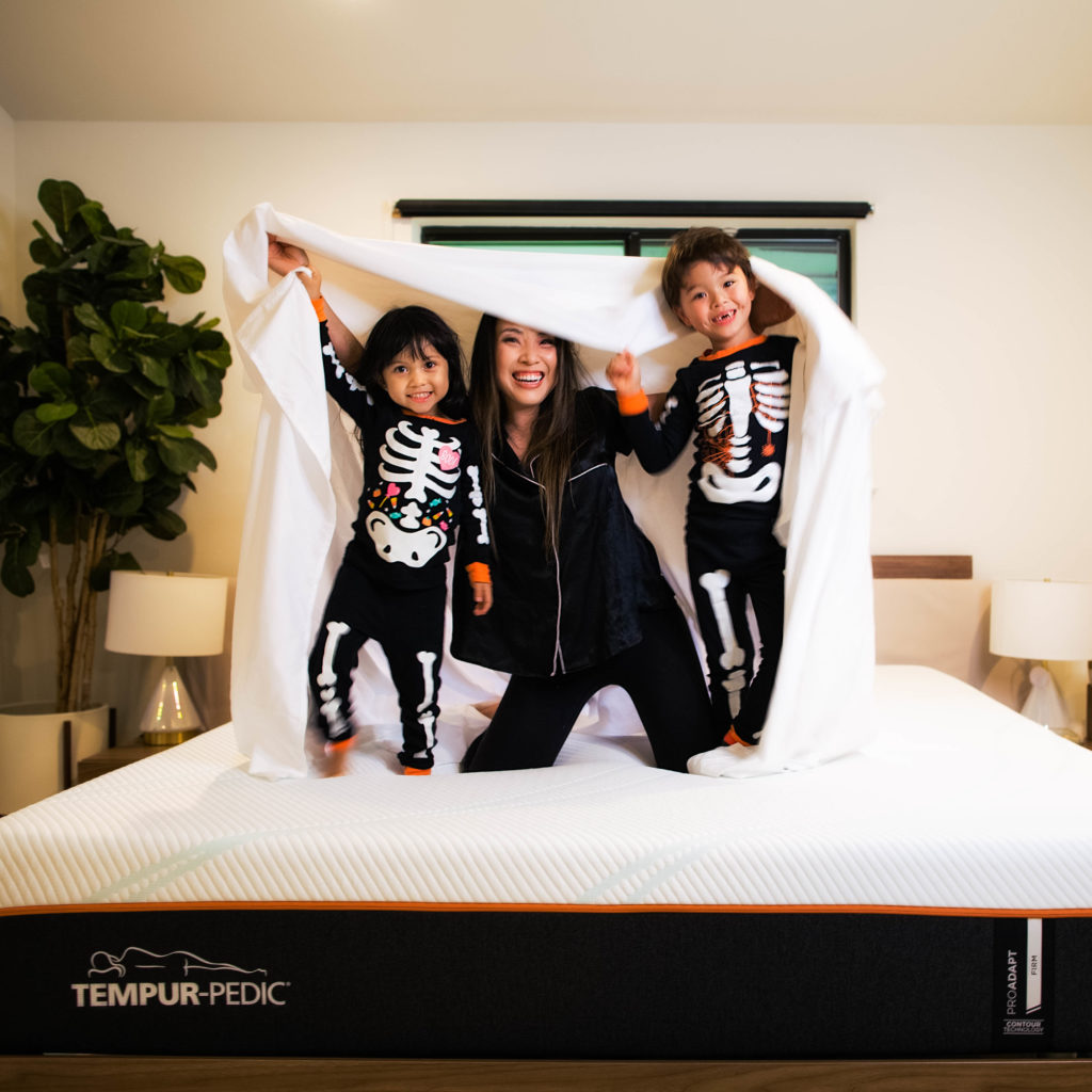 skeleton family halloween pajamas | tempurpedic proadapt review | Matching Halloween Pajamas for the Family featured by top Dallas petite fashion blog Cute & Little