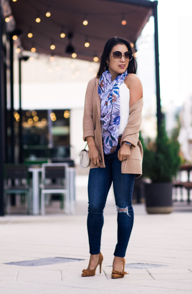 j.crew sophie open front sweater blazer, loft wild daisy scarf, ag farrah jeans, gucci mini marmont white, chloe sunglasses | how to style a coatigan | fall outfit | Your New Favorite Third Piece: The Coatigan featured by top Dallas petite fashion blog Cute & Little