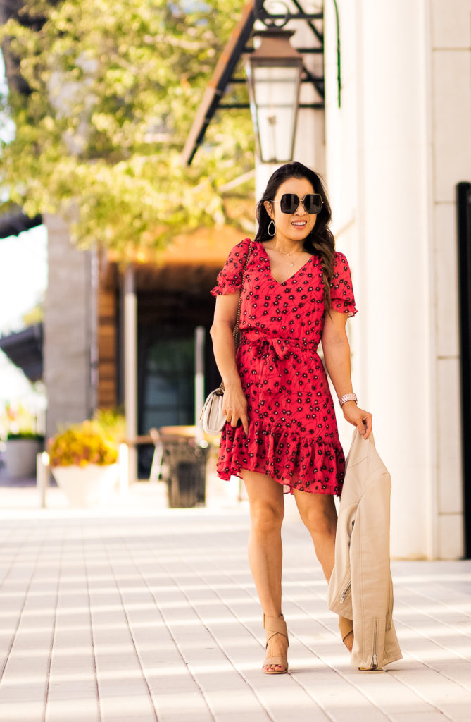 cute & little | dallas petite fashion blogger | top 15 fall floral dresses | express red floral ruffle hem mini dress