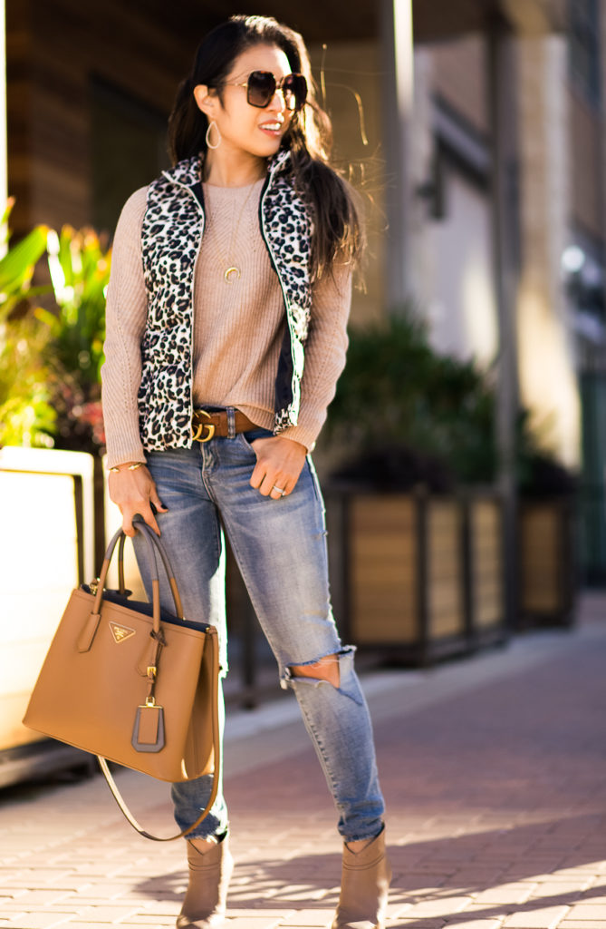 loft pointelle yoke sweater | loft leopard print puffer vest | blanknyc jeans | loft 40% off sale | fall outfit | Styling This Season's Must-Have Puffer Vest featured by top Dallas petite fashion blog Cute & Little