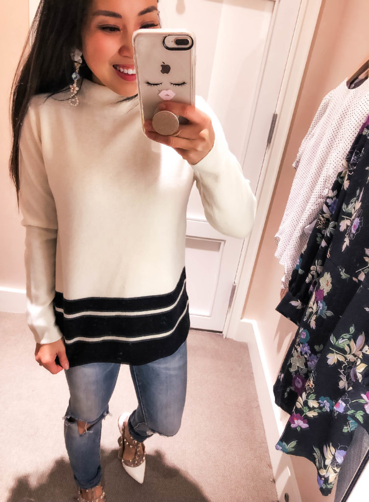 cute & little | dallas petite fashion blog | loft december winter try-on | loft striped hem mock neck sweater | LOFT Fashion December Try-On featured by top Dallas petite fashion blog, Cute & Little: image of a woman wearing a LOFT striped mock neck sweater