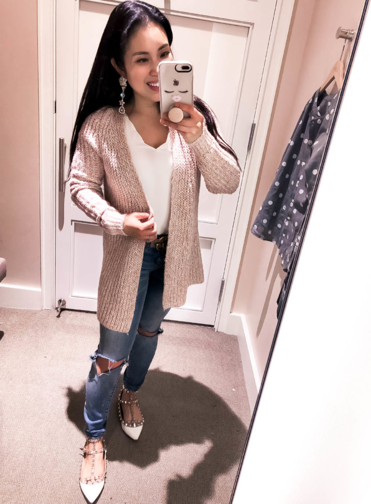 cute & little | dallas petite fashion blog | loft december winter try-on | loft ribbed open cardigan, loft scalloped strappy cami | LOFT Fashion December Try-On featured by top Dallas petite fashion blog, Cute & Little: image of a woman wearing a LOFT ribbed cardigan and scalopped cami