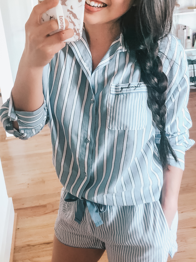 cute & little | dallas popular fashion blog | target stars above sleepwear pajamas try-on haul | blue white striped goodnight button up shirt shorts pajamas set review | Target Pajamas Try-On featured by top US petite fashion blog, Cute & Little; image of woman wearing striped pajamas from target