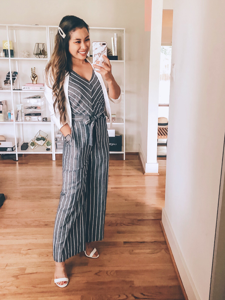 LOFT Sale featured by top US fashion blog cute & little; Image of a woman wearing loft striped tie waist jumpsuit.