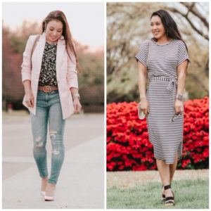cute & little | popular dallas petite fashion blog | loft lightweight modern pink blazer, loft striped tie waist midi dress | spring outfits