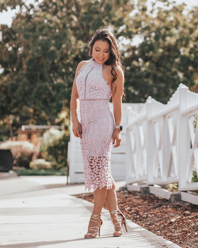 Summer Wedding Guest Dresses featured by top US petite fashion blog Cute & Little; Image of a woman wearing bardot gemma orchid lace crochet halter dress and BP shoes.
