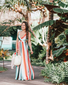 cute & little | popular petite dallas fashion blog | express striped surplice front lace-up back maxi dress | tropical beach vacation outfit