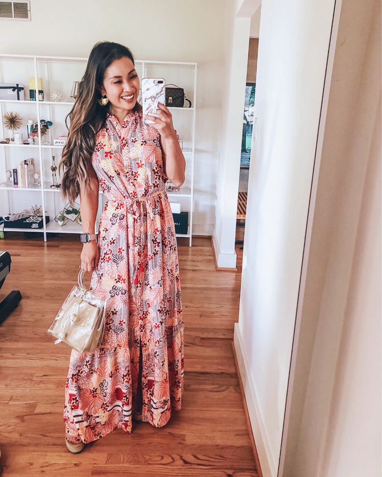 LOFT Favorites featured by top US petite fashion blog Cute & Little; Image of a woman wearing loft beach palm leaf maxi dress.