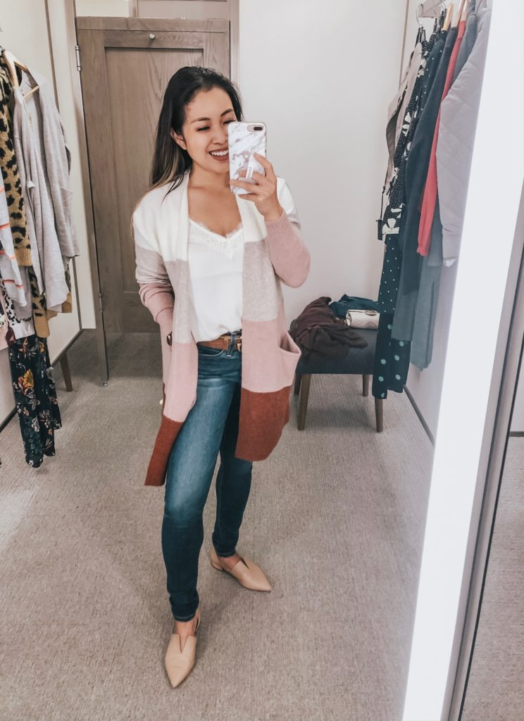 cute & little | dallas popular petite fashion blog | nordstrom anniversary sale 2019 top must-have picks | madewell ryder stripe cardigan, cp. lace trim satin camisole, ag farrah skinny jeans | best of 2019 nsale | Nordstrom Anniversary Sale 2019: Must-Have Picks image of woman standing in a dressing room and wearing a Madewell Ryder Stripe Cardigan, BP. Lace Trim Satin Camisole, AG 'Farrah' Skinny Jeans, Gucci Double G, and Vince 'Darlington' Flats.