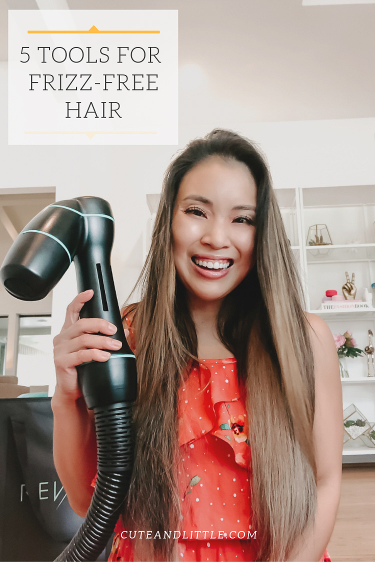 cute & little | popular dallas beauty blog | 5 products tools to beat frizzy hair | rev-air review | 5 Best Products For Dry Frizzy Hair // Rev-Air Review + GIVEAWAY by popular Dallas beauty blog, Cute and Little: image of a woman holding a Rev-Air Reverse Hair Dryer.