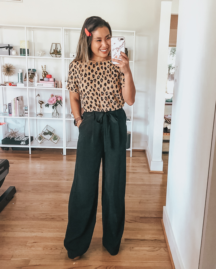 cute & little | dallas petite fashion blog | target august 2019 try-on haul | target leopard print crepe t-shirt, target a new day black wide leg pants | work office style outfits \August 2019 Top Sellers by popular Dallas petit fashion blog, Cute and Little: image of a woman wearing Target A New Day Women's Regular Fit Tie Waist Wide Leg Pants.