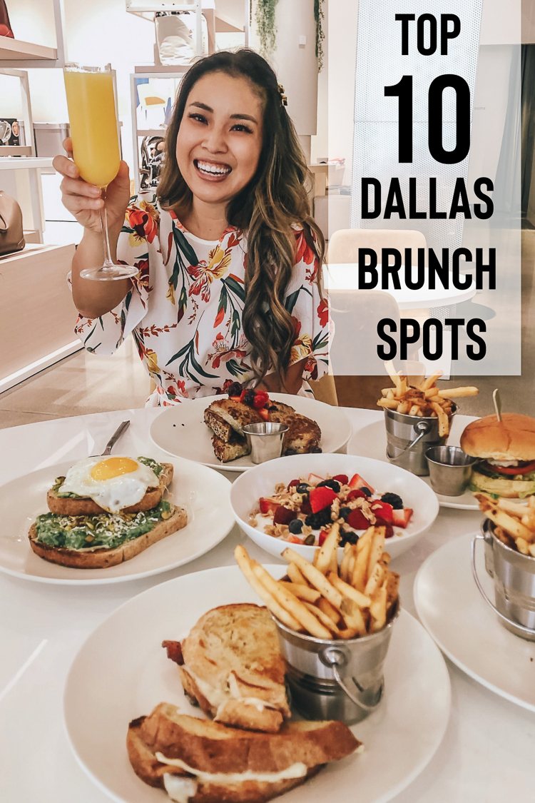cute & little | dallas fashion blog | top 10 dallas brunch restaurants family kid friendly | Best Brunch In Dallas: 10 Restaurants To Try by popular Dallas blog, Cute and Little: image of a woman sitting at a restaurant table with various brunch foods on it and holding up a mimosa.