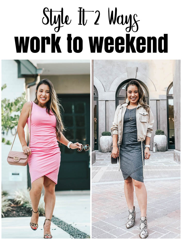 cute & little | dallas petite fashion blog | bodycon dress style it 2 ways | work to weekend | nordstrom leith bodycon dress | date night outfit, work office outfit